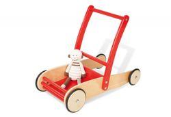 B-Ware / Räder laufen eirig, Klebereste am Holz + Umkarton defekt / Lauflernwagen  Uli  von Pinolino / Material: massiv Buche, klar + rot lackiert / mit Gummibereifung + Stahlachsen / 1 - 6 Jahren