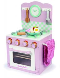 B-Ware / Pfanne hat eine Beschädigung / Stand Backofen mit Kochfeld in rosa / Kochzubehör: Pfanne, Pfannenwender und vielem mehr / Material: Holz / Gewicht: ca. 5 kg / Maße: 24 x 30 x 53 cm / für Kinder ab 3 Jahren geeignet