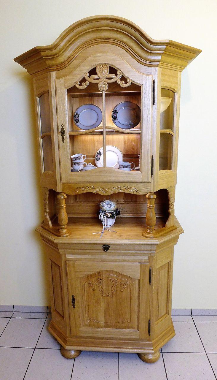 soltau vitrine bogenvitrine glasvitrine buffetvitrine rustikal hell eiche voll massiv. Black Bedroom Furniture Sets. Home Design Ideas