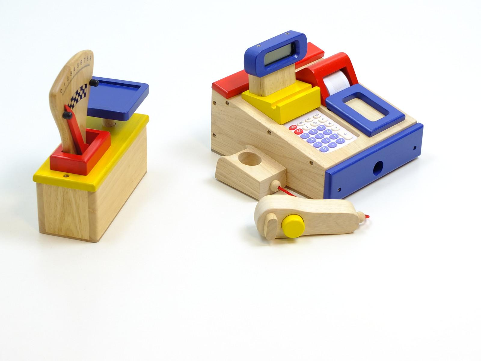 2er set spielkasse und kaufladen waage aus holz kasse mit integriertem taschenrechner waage. Black Bedroom Furniture Sets. Home Design Ideas