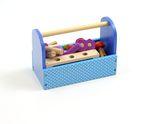 Werkzeugkiste / 22-teiliges Set Werkzeug und Zubehör / Material: Buchenholz / Maße: Länge: 22,5 x Breite: 12 x Höhe: 16,5 cm / für Kinder ab 3 Jahren