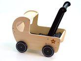 Toller kleiner Puppenwagen mit schwarzem Griff und schwarzen Reifen / Lauflernwagen aus Holz / Schwarze Decke mit weißen Punkten / Maße: ca. 42 x 26 x 42 cm / für Kinder ab 3 Jahren