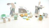 Haushaltsset: Kaffeemaschine, Toaster + Mixer / mit verschiedenen Zubehörartikeln / Material: Holz / für Kinder ab 3 Jahren geeignet