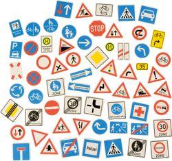 Magnetische Verkehrszeichen 64-tlg. / Material: Kunststoff, magnetische Rückseite / Maße: 7,2 x 7,2 cm bzw. Ø 6,4 cm / ab 3 Jahre