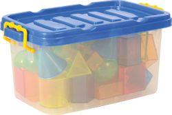 Geoformen transparent / 36 Stück in stabiler Kunststoffbox / Material: Kunststoff / Maße Würfel: 4,9 x 4,9 x 4,9 cm / für Kinder ab 3 Jahren geeignet