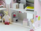 Aufklappbares Puppenhaus mit einer Bärenfamilie / Spielhaus mit 2 klappbaren Haushälften / inkl. Möbel und einer Bärenfamilie / für Kinder ab 3 Jahren