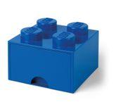 LEGO Bausteinbox mit Schublade / 4 Noppen - Farbe: blau / praktischer Aufbewahrungsbehälter / Maße: 25  x 25 x 18 cm