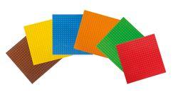 Basisplatte  Basic  klein 20 x 20 Noppen 6er Set klein / Maße: 16 x 16 cm / Farbe: braun, gelb, blau, orange, grün + rot