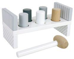 Hammerbank / mit 5 Zylindern und einem Hammer / Material: Holz / Maße: Länge: 23 x 11 x 10 cm / für Kinder ab 18 Monaten