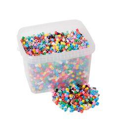 Bügelperlen XL 5000 Stück im Eimer / Großvariante: 10 mm lang, Ø 8mm / in 10 verschiedenen Farben / für Kinder ab 3 Jahren