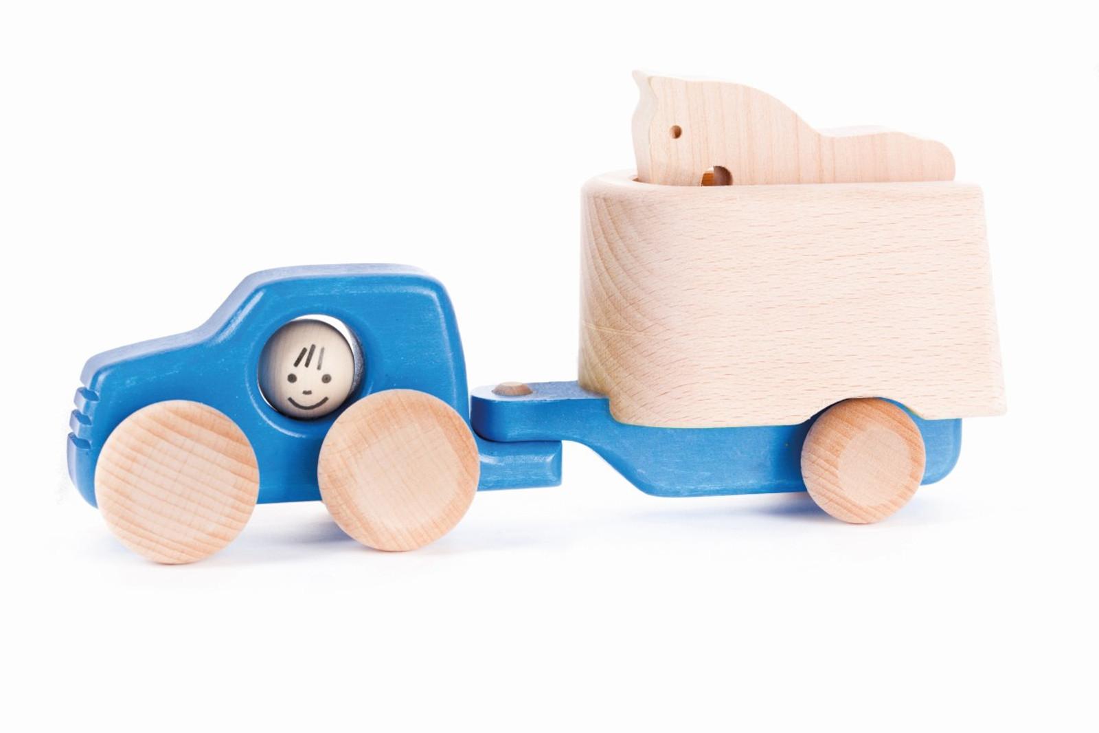 traktor mit anh nger und 1 pferd material holz mit holzreifen farbe blau natur f r. Black Bedroom Furniture Sets. Home Design Ideas