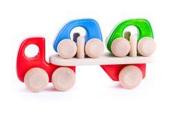 Autotransporter inkl. Auflieger mit 2 kleinen Autos / Material: Holz / mit Holzreifen / Farbe: rot, natur, blau + grün /  für Kinder ab 1 1/2 Jahren