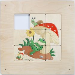 Schiebebild Frosch & Pilz / Wandspiel / Material: Holz / Farbe: natur / Größe: 48 x 48 cm / Made in Germany / 3+