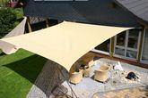 Sonnensegel / Rechteck 6 x 4 m - beige / Material: HDPE-Gewebe, UV-stabiles Gewebe 185 g/m² / umlaufendes Gurtband / Farbe: beige