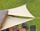 Sonnensegel - Dreieck / 3,6 x 3,6m - creme weiß / Material: wasserabweisendes, 100% Polyester-Gewebe inkl. Imprägnierschicht / umlaufendes Gurtband / Farbe: creme weiß