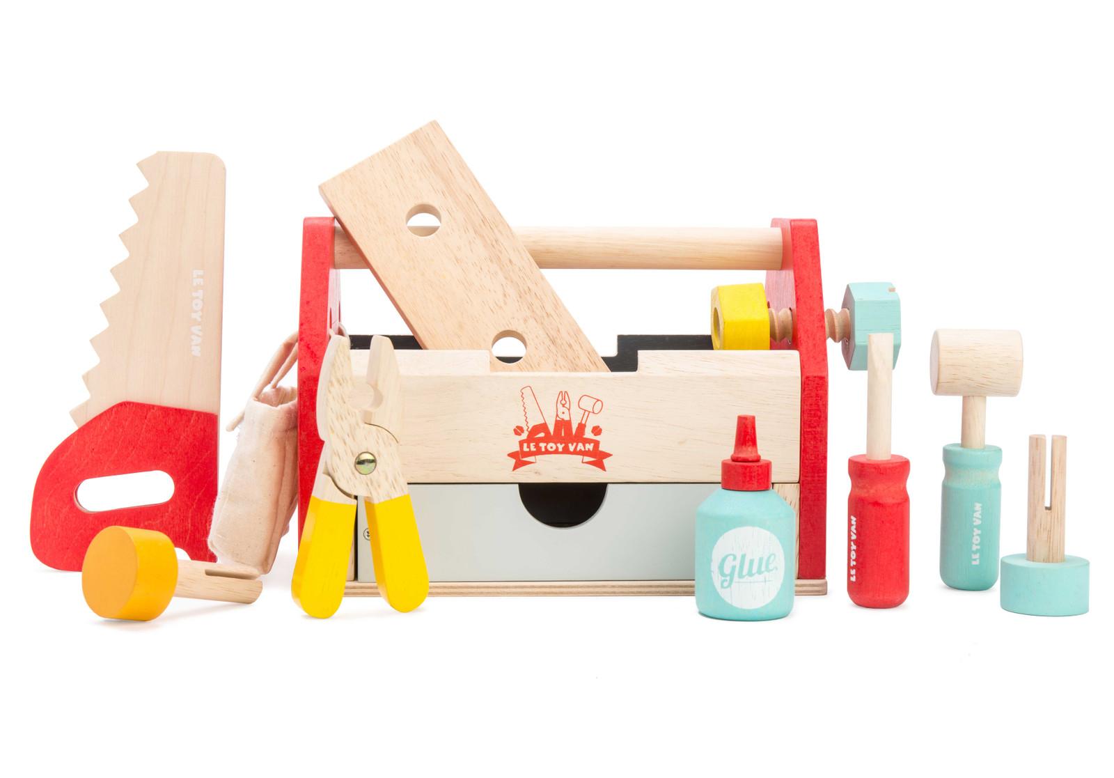werkzeugkasten mit schublade werkzeug material holz farbe natur rot hellblau gelb. Black Bedroom Furniture Sets. Home Design Ideas