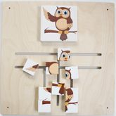 Schiebepuzzle Eule / Wandspiel / Material: Holz / Farbe: natur / Größe: 48 x 48 cm / Made in Germany / 3+
