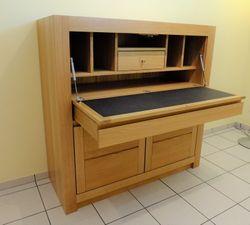 Schermbeck Sekretär, Eiche massiv, Schreibplatz, Schreibklappe, Schreibschrank