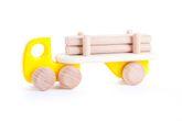 Truck inkl. Anhänger mit Langholz - 4 Langholzstäbe / Material: Holz / mit 6 Holzreifen / Farbe: natur + gelb /  für Kinder ab 1 Jahr