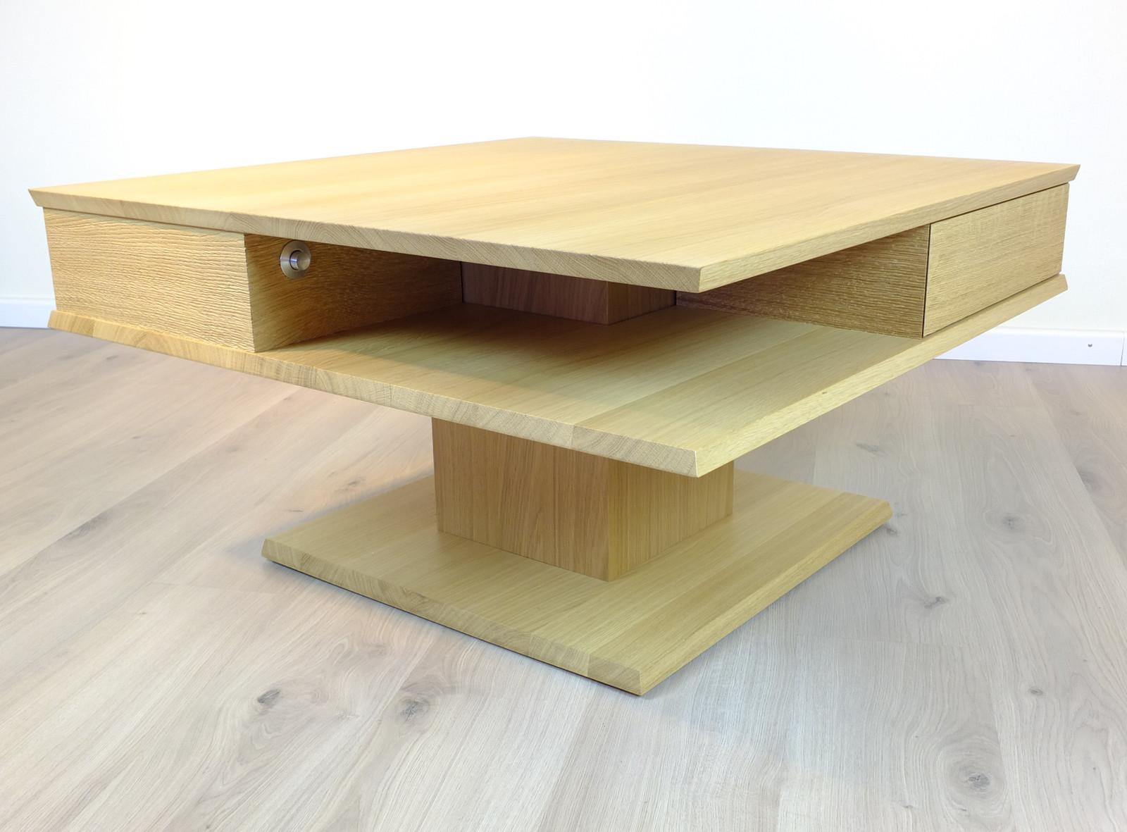 Couchtisch / Wohnzimmertisch / Sofatisch - Modell: Linie R  quadratisch modern Größe: 90 x 90 cm höhenverstellbar von ca. 47 - 62 cm / Eiche vollmassiv