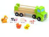 Tiertransporter aus Holz / mit 6 Tieren / Material: Holz / Maße: 29,5 x 9 x 11 cm / für Kinder ab 18 Monaten