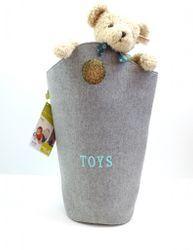 B-Ware / Schlechte Verarbeitung der oberen Nähte / Runde Spielzeugtasche aus Filz / mit integrierten runden Grifflöchern / Außen grau, Innen mint-blau / mit aufgenähtem Motiv:  Toys  / Maße: 32 x 32 x 73 cm