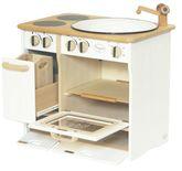 Massive Kombiküche / Kinderküche mit Herd + Spülbecken / Material: Erle / Maß: 51 x 35 x 46 cm / Farbe: natur + weiss / Gewicht: 7,6 kg