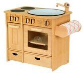 Massive Kombiküche / Kinderküche mit Herd + Spülbecken + Handtuchhalter / Material: Erle / Maß: 51 x 35 x 46 cm / Farbe: natur / Gewicht: 7,6 kg