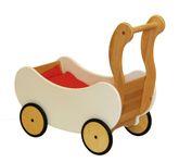 Puppenwagen weiß / inkl. rotem Bettzeug / Material: Erle / Maß: 33 x 60 x 62 cm / Gewicht: 3 kg