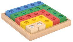 Juwelenblocks / bunte Holzbausteine mit integrierten Juwelen / Material: Holz, Acryl / Kasten: 17 x 17 cm, Würfel: 3 x 3 x 3 cm / für Kinder ab 3 Jahren