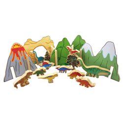 Dinowelt / 10 Saurier, 2 Bäume, 5 Berge und 5 Verbindungsplatten - bunt bedruckt / Maße - Berg: 30 x 20 cm, Saurier: 5,5 x 3,5 cm / für Kinder ab 3 Jahre