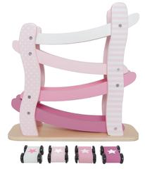 Auto Rennbahn rosa mit 4 Rollbahnen / inkl. 4 kleinen Rennautos mit 4 drehbaren Rädern / Farbe: weiss, rosa / Material: Holz / Maße: 29 x 10 x 29 cm / für Kinder ab 18 Monaten