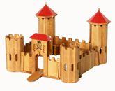 Ritterschloss mit rotem Dach / Material: massive Erle / Maße: 54 x 54 x 39 cm / Gewicht: 5,4 kg
