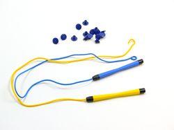 Magnetstifte groß + Snips 15er Set / 2 Ersatzstifte + 15 Snips / Farbe: blau + gelb / zur Befestigung an Wand-, Tisch- und Großspielen geeignet (sind NICHT im Lieferumfang enthalten)