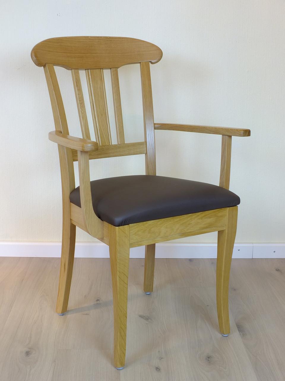 """""""Schleswig"""" Armlehnen Stuhl Eiche -  Massivholzstuhl mit Sprossen im Rücken - viele Bezüge möglich - auch in Eiche gelaugt möglich"""