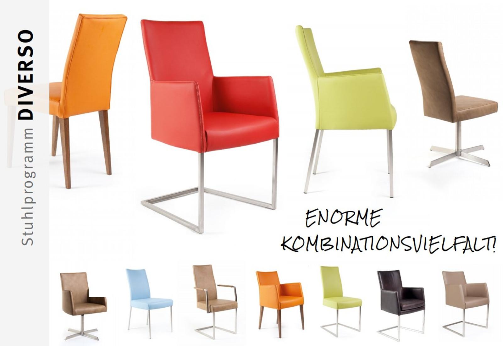 Diverso - der flexible Stuhl oder Sessel, den es in vielen Ausführungen gibt - Vierfuß, Freischwinger, Kreuzgestell - Eiche, Buche, Nussbaum, Edelstahl