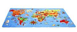 Spielteppich Welt / Weltteppich mit Abbildungen von Kontinenten / welche Tiere gibt es in welchen Ländern / Größe: 140 x 200 cm / Material: Polyamid, Textilrücken