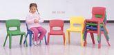 4 kleine Stühle / leise, leicht und robust / Material: Kunststoff / Maße: 33 x 37 x 51 / Sitzhöhe: 26 cm / Farbe: blau, grün, rot und gelb