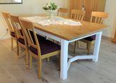 Esstisch / Tisch  Kurland  220 x 110 cm Platte Asteiche Natur - Gestell Eiche weiß / Ausstellungsstück zum Sonderpreis 1.890,00 €