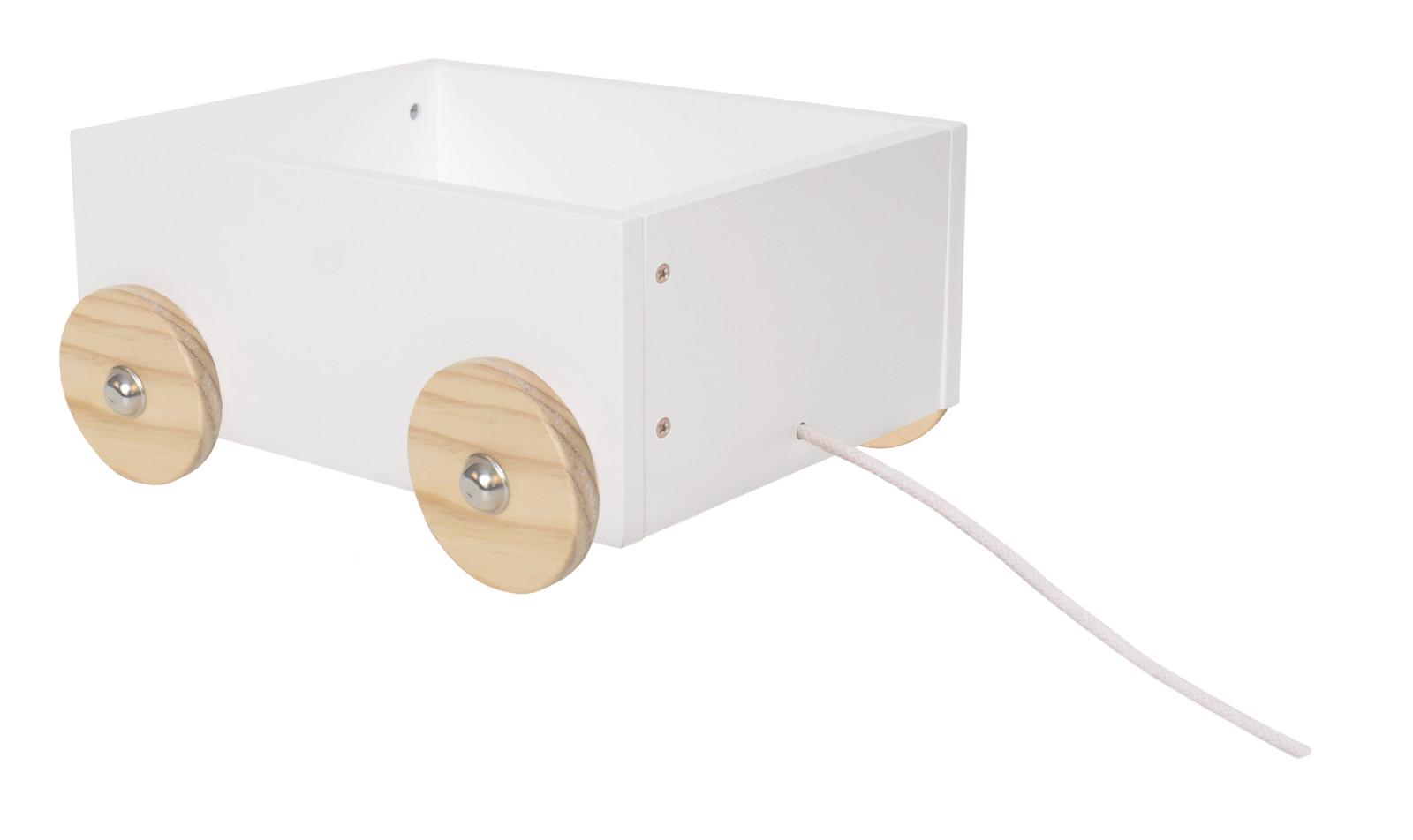 Niedliche weiße Spielzeugkiste mit Räder / mit Kordel zu Hinterherziehen /  Material: Holz / Maße: ca. 27 x 21 x 12,5 cm | steinchenspiel.de