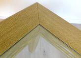 Couchtisch / Wohnzimmertisch / Ecktisch  Landhaus mit Glasplatte  70 x 70 cm - Höhe 52 cm Eiche gelaugt - andere Maße sind möglich, Eiche Buche Kirschbaum massiv, Holzrahmen mit Profilfräsung