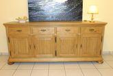 Legden Anrichte 4-türig / Sideboard / Kommode Breite 200 cm Höhe 84 cm gelaugt rustikal, Modell: Anrichte Legden 4-türig / Eiche vollmassiv