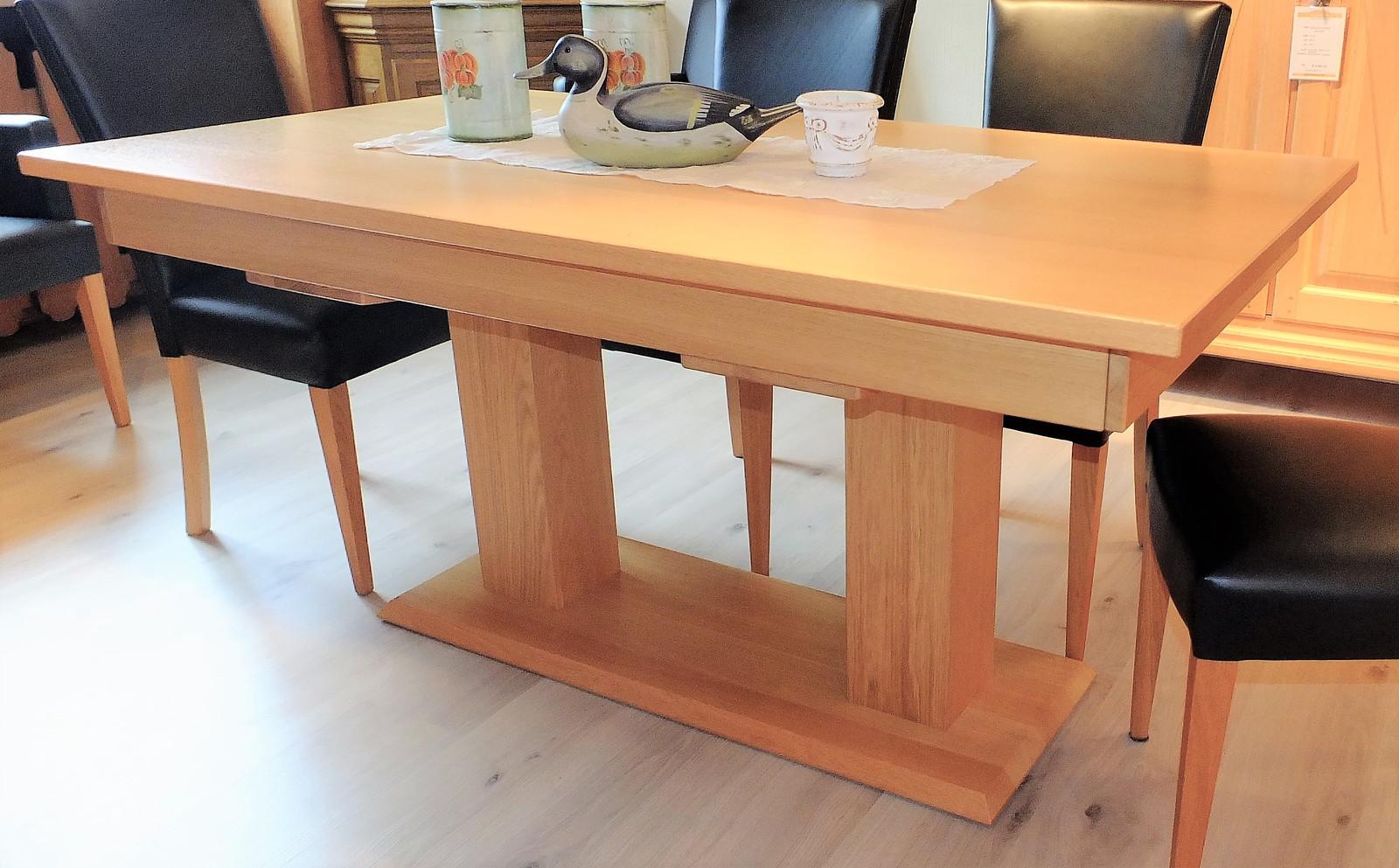 Esstisch / Esszimmertisch / Säulentisch / 2-Säulen-Tisch Moderna mit Einlegeplatte - in Eiche, Asteiche, Buche, Kirschbaum oder Kernbuche, der vollmassive Maßtisch