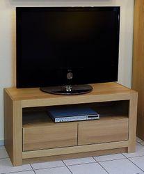 Schermbeck TV Lowboard Eiche massiv Breite 120 cm Höhe 60 cm - modern - mit offener Gerätenische - auch in Asteiche Buche oder Kirschbaum möglich