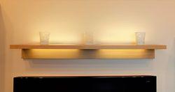 Schermbeck Tablarwinkel Winkelboden Wandregal Eiche massiv Breite 100 - 145 cm - auf Wunsch mit Beleuchtung - modern -  auch in Asteiche Buche oder Kirschbaum möglich