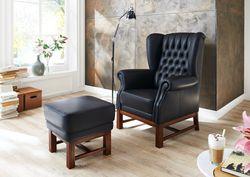 Einzelsessel Sessel Hochlehner Paris mit passendem Hocker - Füße in Eiche oder Buche massiv - Viele Stoffe und auch Leder möglich