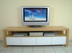 TV Stollen Anrichte Coesfeld, Breite 200 cm, mit offener Gerätenische, mit 4 Schubladen Front weiß, Eiche massiv, modern (auch in Buche oder Kirschbaum möglich)