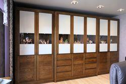 Haltern Schrank, Wohnzimmerschrank 7-türig Front mit lackiertem Glas mit Vitrinenausschnitt - Eiche massiv modern - Breite 396 cm - Höhe 225 cm - individuell planbar - auch in Buche oder Kirschbaum möglich