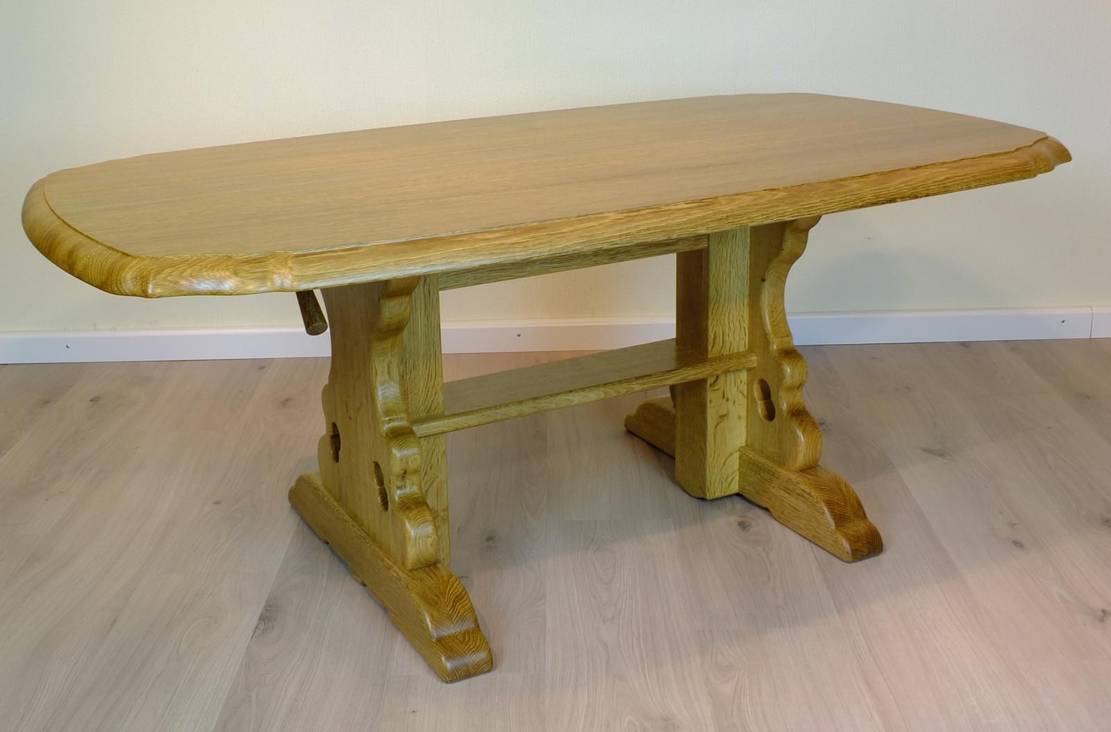 Couchtisch / Wohnzimmertisch / Wangen-Tisch mit Höhenverstellung, höhenverstellbar von 58 - 77 cm - Tischgröße wählbar / Eiche Buche Kirschbaum Nussbaum / Oberfläche nach Wahl ( geölt / lackiert / gelaugt / P43 / gebeizt uvm.)