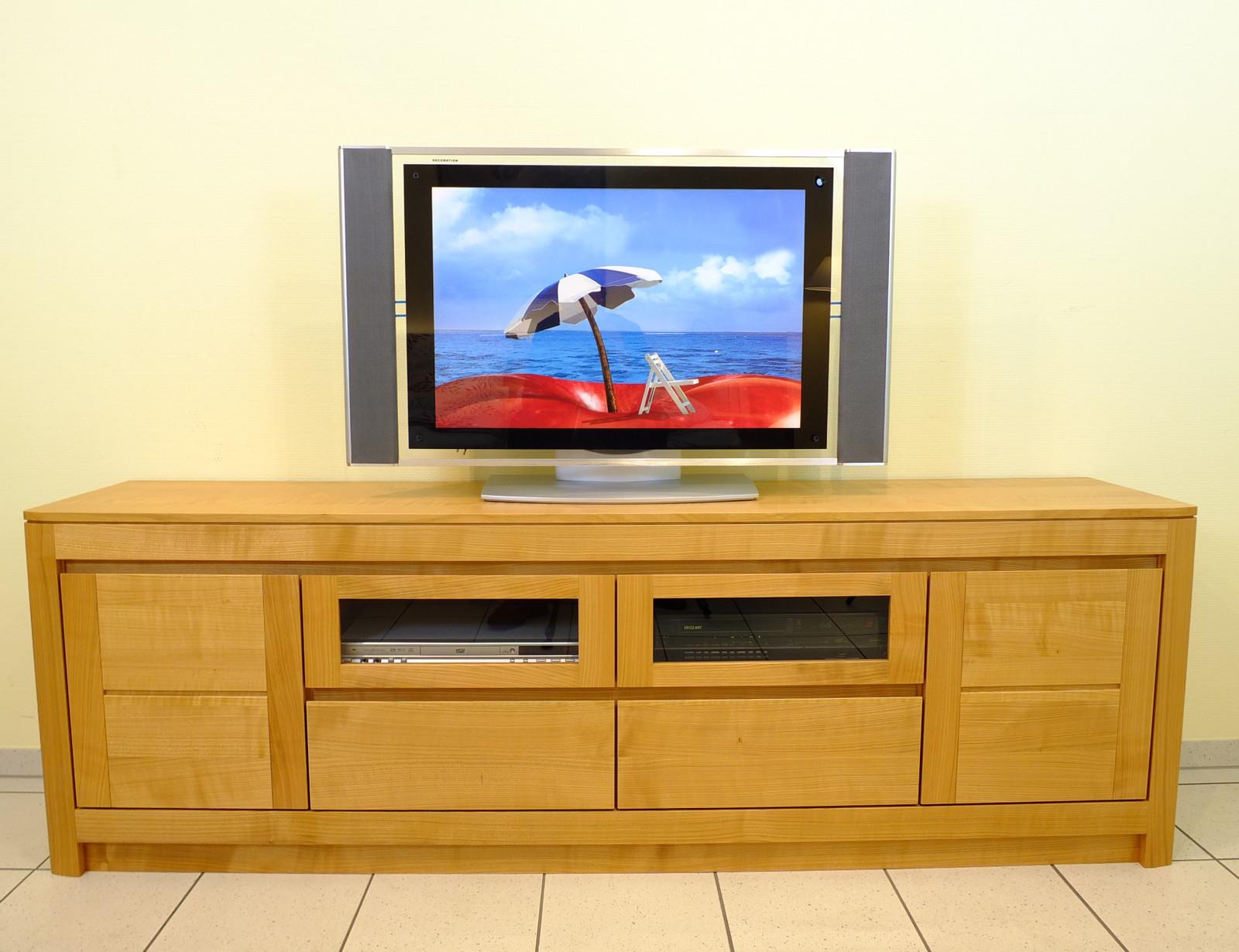 Haltern TV-Lowboard - Kirschbaum vollmassiv - Breite 200 cm - Höhe 65 cm - modern grifflos - auch in Eiche oder Buche möglich